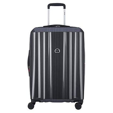 "Delsey Luggage Devan 25"" Checked Luggage, Hard Case Expandable Suitcase (Silver)"