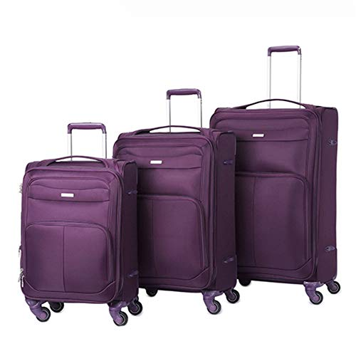 Hard side Luggage 20in 24in 28in Lightweight Suitcase 3 Piece Luggage Nested Sets With TSA Lock Oxford Fabric Softside Carry-on Expandable Uprights Suitcase Softshell 360° Silent Spinner Multidirectio