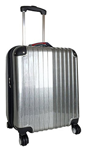 Carryon Travel Bag Rolling 4 Wheel Spinner Lightweight Luggage Case Silver