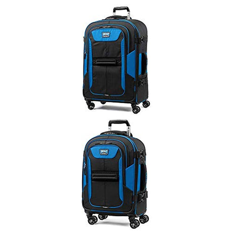 "Travelpro Bold Expandable Spinner Luggage (21"" Carry-On + 26""Checked-Medium, Blue/Black)"