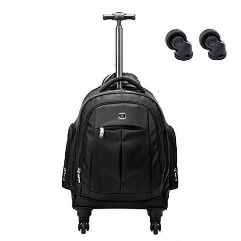 Racini Business Travel Nylon Waterproof Rolling Backpack, Freewheel Wheeled Backpack With Two Extra