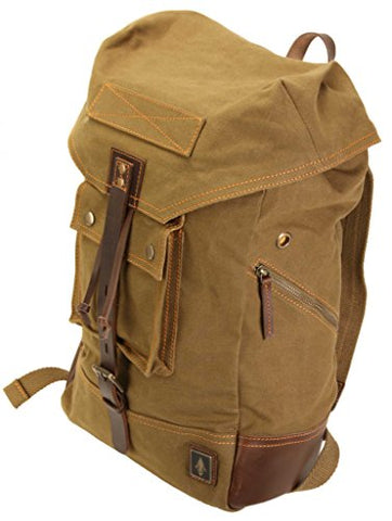 Damndog Canvas & Leather Rucksack Backpack - Swamp Green
