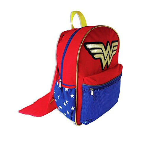DC Comics Wonder Woman Backpack with Detachable Cape and Side Mesh Pockets
