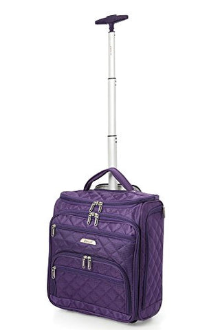 "Aerolite 16"" Carry On Under Seat Wheeled Trolley Luggage Bag For American Airlines, Delta,"