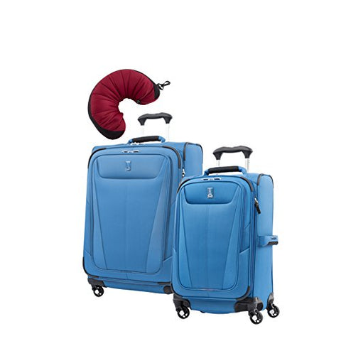 "Travelpro Maxlite 5 | 3-PC Set | 21"" Carry-On & 25"" Exp. Spinners with Travel Pillow (Azure Blue)"