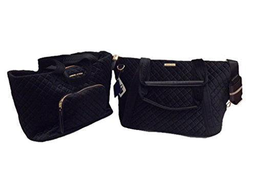 2Pc Set - Adrienne Vittadini Diamond Quilted Velvet Xxl Travel Tote & Duffle