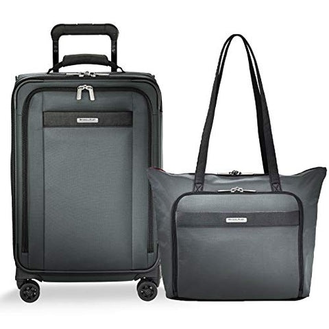 Briggs & Riley Transcend Vx Expandable Tall Carry-On Spinner & Tote Set (Slate, One Size)