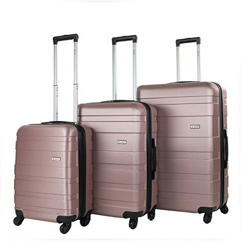 Amka Verano Hardside 3-Piece Expandable Spinner Upright Luggage Set, Rose Gold