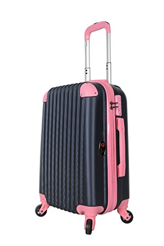 Brio Luggage Hardside Spinner Carry-On #808 Navy (Navy/ Pink)