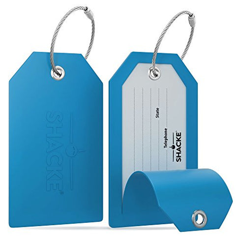 Shacke Luggage Tags with Full Back Privacy Cover w/Steel Loops - Set of 2 (Aqua Teal)