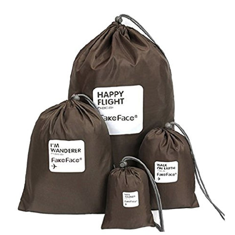 Fakeface 4 Pieces Waterproof Fabric Travel Organizers Toiletry Bags with Drawstring for Travel