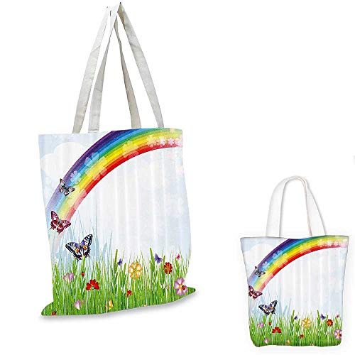Rainbow canvas messenger bag Springtime Meadow Colorful Butterflies Grass Daisy Silhouettes Poppy
