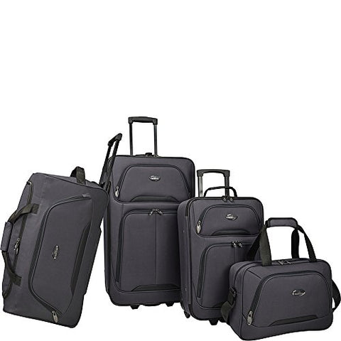 U.S. Traveler Vineyard 4-Piece Softside Luggage Set (Charcoal)