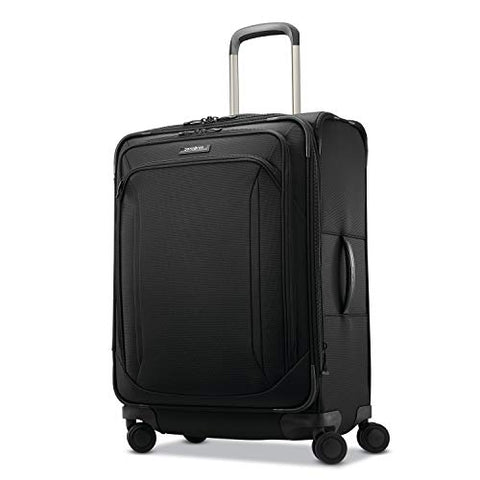 Samsonite Lineate Expandable Softside Checked Luggage with Spinner Wheels, 25 Inch, Obsidian Black