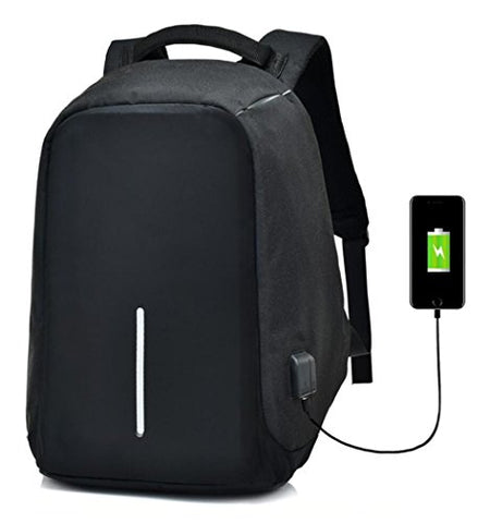 Waterproof Computer Laptop Backpack Anti-thief Outdoor Travel Daypack Slim Business Backpacks with USB Charging Port and Headphone Jack College School Bag BLACK