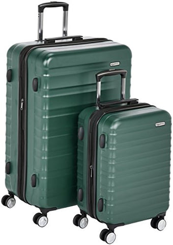 "AmazonBasics Premium Hardside Spinner Luggage with Built-In TSA Lock - 2-Piece Set (20"", 28""), Green"