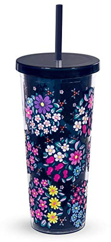 Vera Bradley Acrylic Insulated Travel Tumbler with Reusable Straw, 24 Ounces, Kaleidoscope