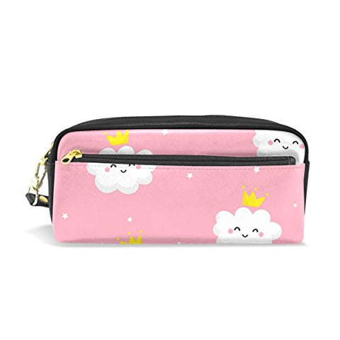 Colourlife Clouds With Crown Pu Leather Pencil Case Holder Pouch Makeup Bags For Boys Girls Adults