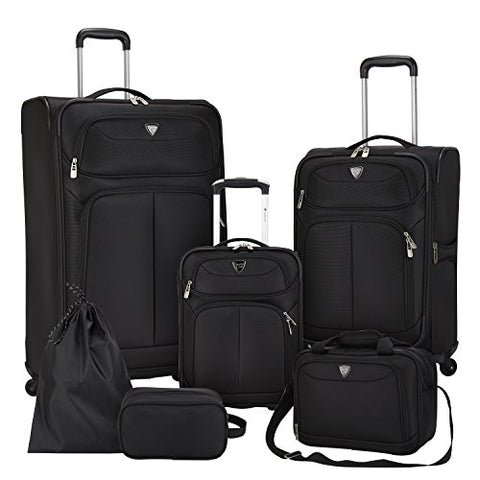 Travelers Club Luggage Hartford 6-Piece Softside Luggage Set, Black