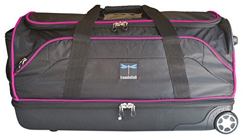 "Travolution 28"" Wheeled Drop-Bottom Duffel with Garment Rack with Pink Trim, Black with Pink Trim"