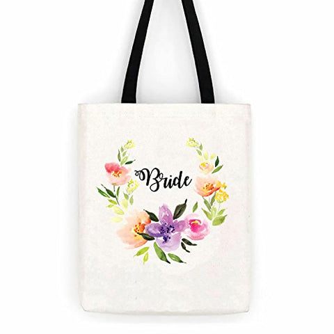 Bride Bridal Floral Cotton Canvas Tote Bag Day Trip Bag Carry All