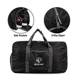 "REDCAMP 45L Foldable Travel Duffle Bag with Shoe Compartment, 22"" Lightweight Water Resistant Small Duffel Bag for Sports Gym Black"