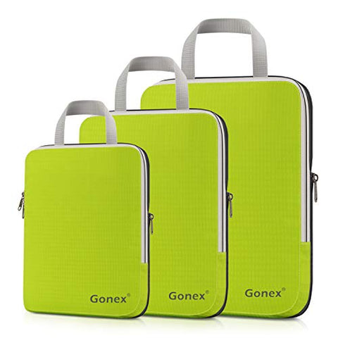 Gonex Packing Cubes, Travel Organizers Set of 3 Upgraded L+M+S(Light Green)