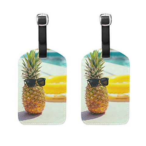 Luggage Tags Cool Pineapple And Swim Ring Mens Tag Holder Kids Bag Labels Traveling Accessories Set