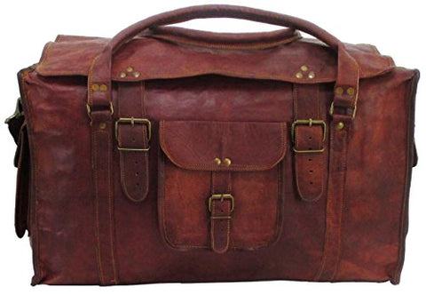 "Vintage Crafts 21"" Mens Retro Style Carry On Luggage Flap Duffel Leather Duffel Bag"