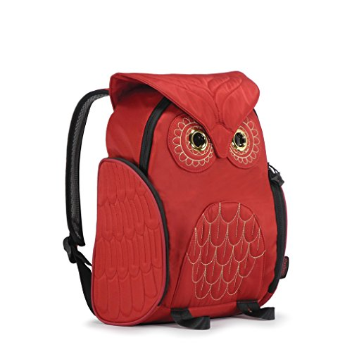 Darling's Owl Padded Straps Quilted Daypack / Backpack - Medium - Red