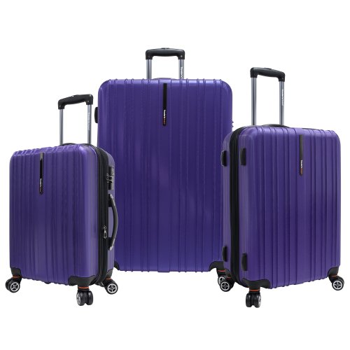"Traveler's Choice Tasmania Polycarbonate Expandable 8-Wheel Spinner 3-Piece Luggage Set, Purple (21""/25""/29"")"