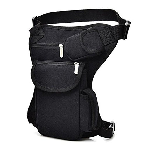 Sealinf Canvas Waist Bag Fanny Pack Racing Drop Leg Bag Motorcycle Outdoor Bag (Black)