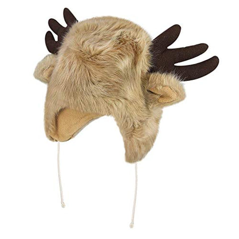 BOBILIKE Plush Fun Raindeer Ears Hood Women Costume Hats Warm, Soft and Cozy, Reindeer Brown