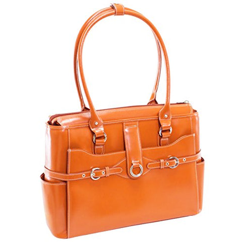 "McKlein, W Series, Willow Springs, Top Grain Cowhide Leather, 15"" Leather Ladies' Laptop Briefcase, Orange (96560)"