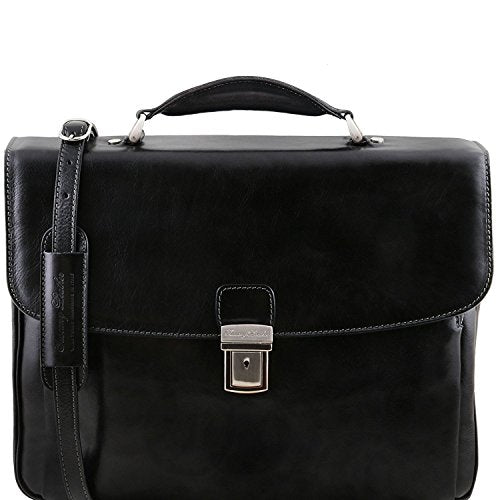 Tuscany Leather Alessandria - Leather multi compartment TL SMART laptop briefcase - TL141448 (Black)