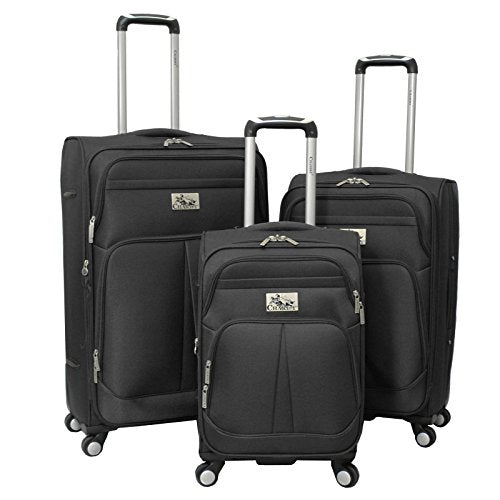 Chariot Taranto 3 Piece Lightweight Upright Spinner Luggage Set - Purple, Black, One Size