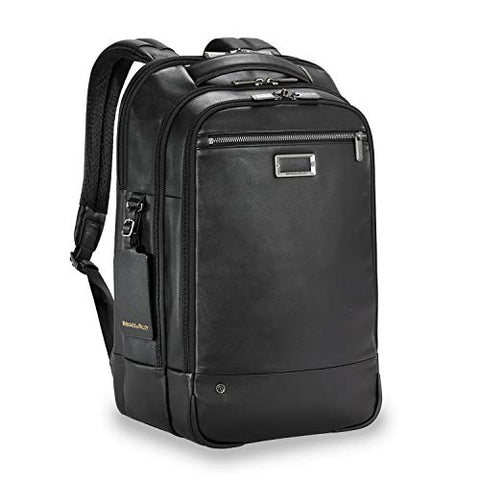 Briggs & Riley Leather Medium Backpack (No Initials Black)