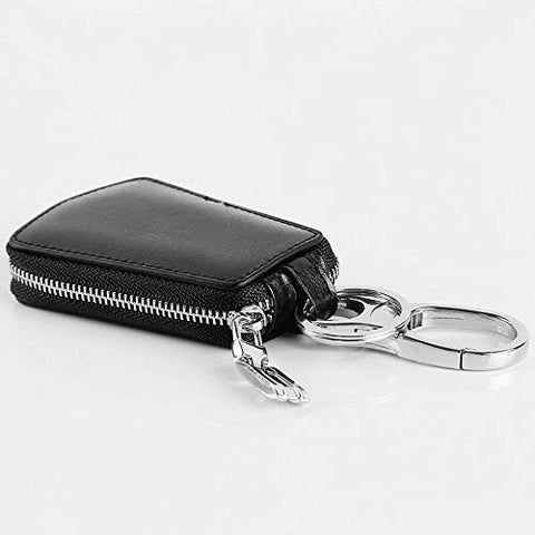 New Men Key Ring Bag Portable Convenient Genuine Leather Zipper Mini Key Wallet (Color - Black)