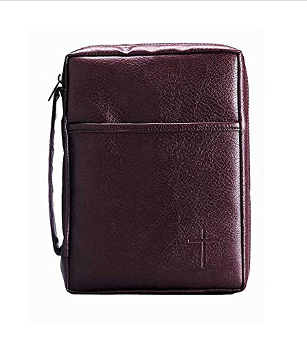 Burgundy Embossed Cross with Front Pocket Small Leather Look Bible Cover with Handle