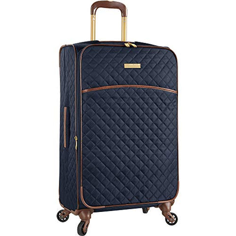 "Anne Klein Women's 25"" Expandable Softside Spinner Carryon Luggage, Navy Quilted"