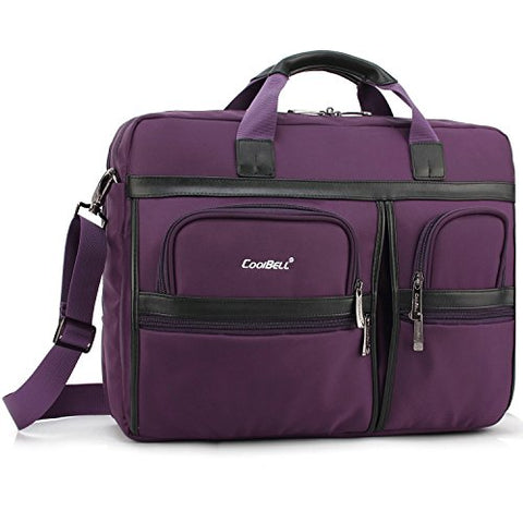 Laptop Briefcase, CoolBell 17.3 Inch Protective Messenger Bag Nylon Shoulder Bag Multi-functional Hand Bag For Laptop / Ultrabook / Tablet / Macbook / Dell / HP / Acer / Men/Women/Business (Purple)