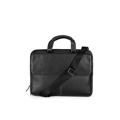 Boconi Mens Tyler Tumbled Folio Leather Laptop Briefcase With Shoulder Strap Bag, Black