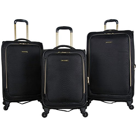 "Aimee Kestenberg Women'S Polyester Expandable 4-Wheel 3-Piece Luggage Set 20"", 24"", 28"", Black"