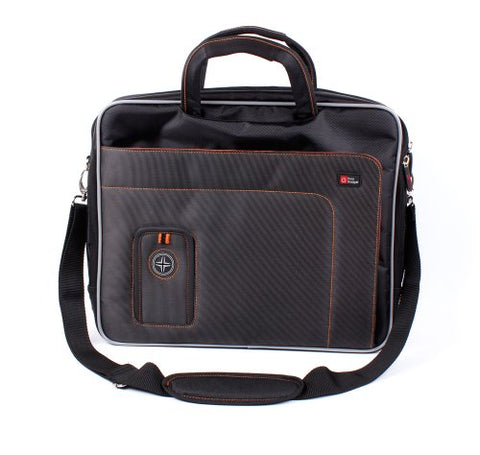 DURAGADGET Black and Orange Padded Carry Case with Removable Shoulder Strap for The HP 15-bs558sa |