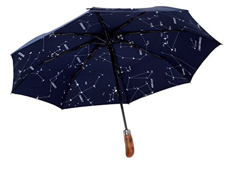 Balios (Designed in UK) Umbrella Handmade Real Wood Handle-Dark Navy with Sophisticated