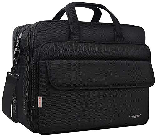 Large Briefcase for Men Women, 17 Inch Laptop Bag, Expandable Business Attache, Taygeer Water