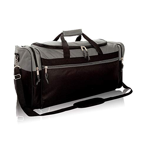 "Dalix 25"" Extra Large Vacation Travel Duffle Bag In Gray And Black"