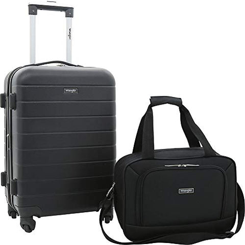 Travelers Club Luggage Wrangler 2 Piece Rolling Expandable Carry-On Set (Black)