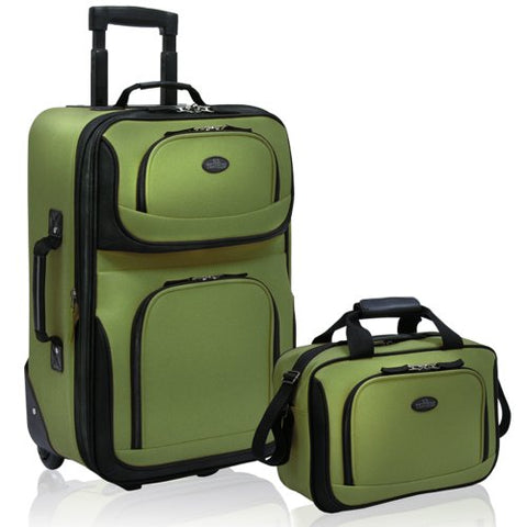 U.S Traveler Rio Carry-On Lightweight Expandable Rolling Luggage Suitcase Set - Green (15-Inch