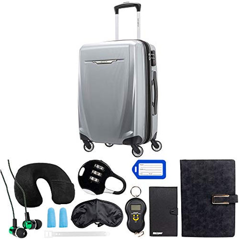 Samsonite Winfield 3 DLX Spinner 56/20 Carry-On, Silver (120752-1776) with Deco Gear 10 Piece Luggage Accessory Ultimate Travel Bundle